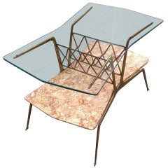 Italian Side Table in Marble, Brass and Glass