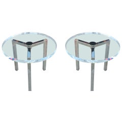 Pair of Lucite and Nickel Side Tables by Charles Hollis Jones