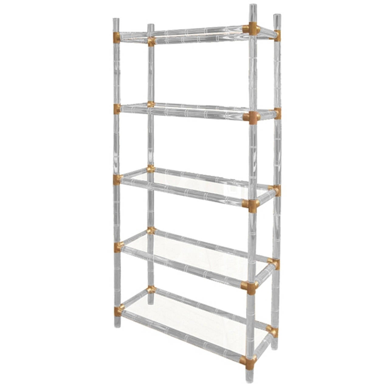 charles hollis jones faux bamboo lucite and brass etagere for sale at 1stdibs. Black Bedroom Furniture Sets. Home Design Ideas