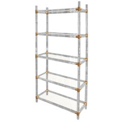 Charles Hollis Jones Faux Bamboo-Lucite and Brass Etagere