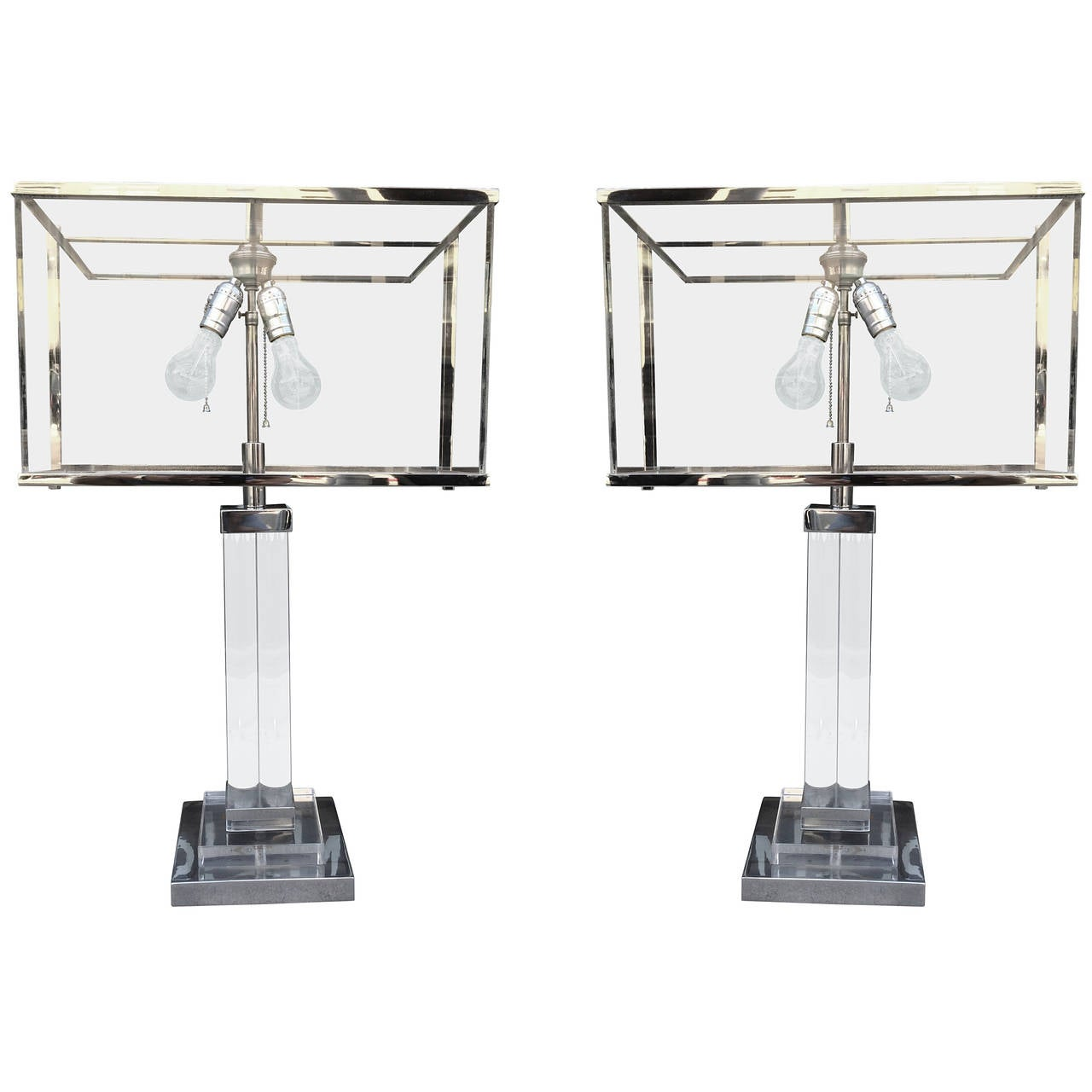 Pair of Charles Hollis Jones Table Lamps in Lucite and Nickel, Signed and Dated