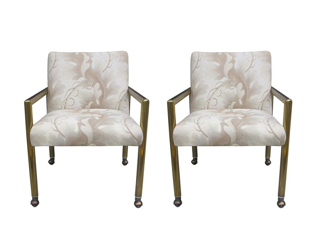 Mastercraft Arm Chairs with Tubular Brass Frames and ...