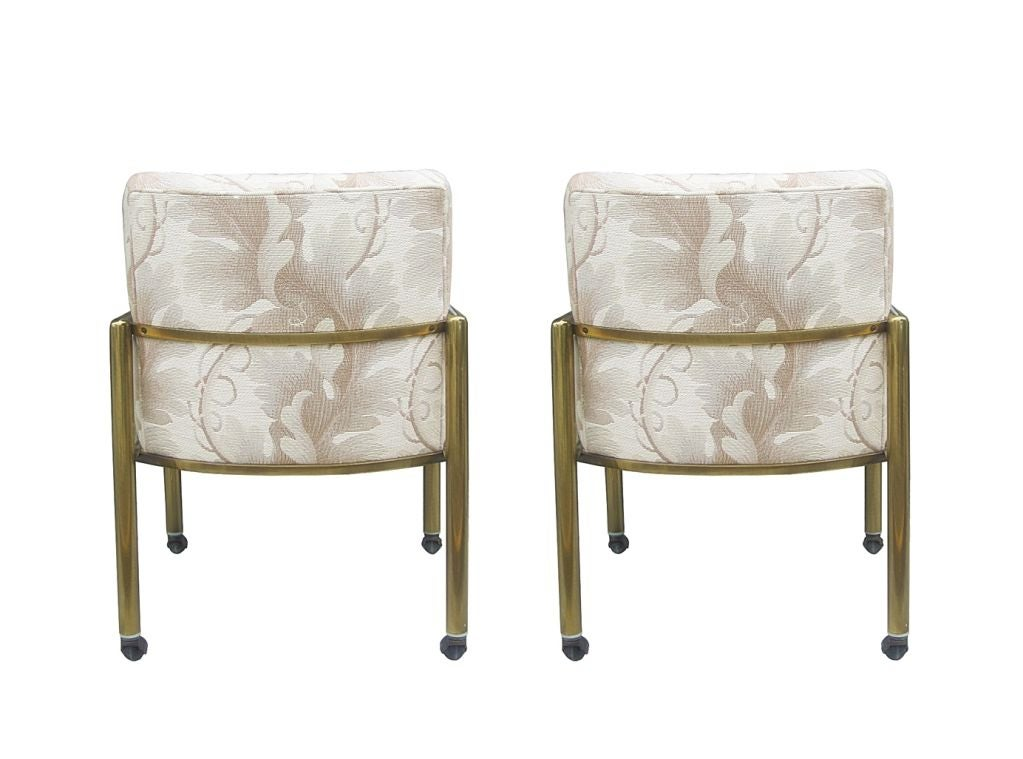 Mastercraft Arm Chairs With Tubular Brass Frames And