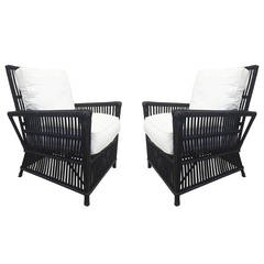 Wicker or Bamboo Patio Chairs & Sofa Upholstered in White Canvas
