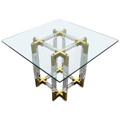 Metric Dining Table in Lucite and Brass by Charles Hollis Jones