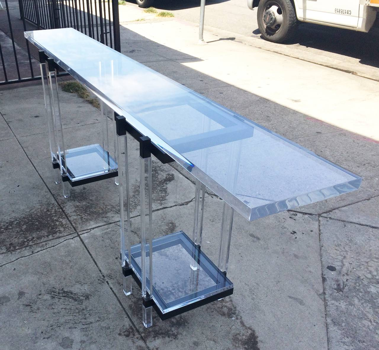 Mid-Century Modern Console Table in Lucite and Black Enamel by Charles Hollis Jones  For Sale