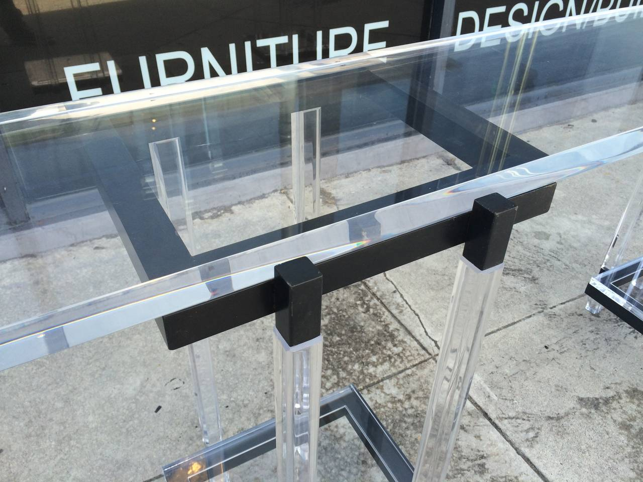 Metal Console Table in Lucite and Black Enamel by Charles Hollis Jones  For Sale