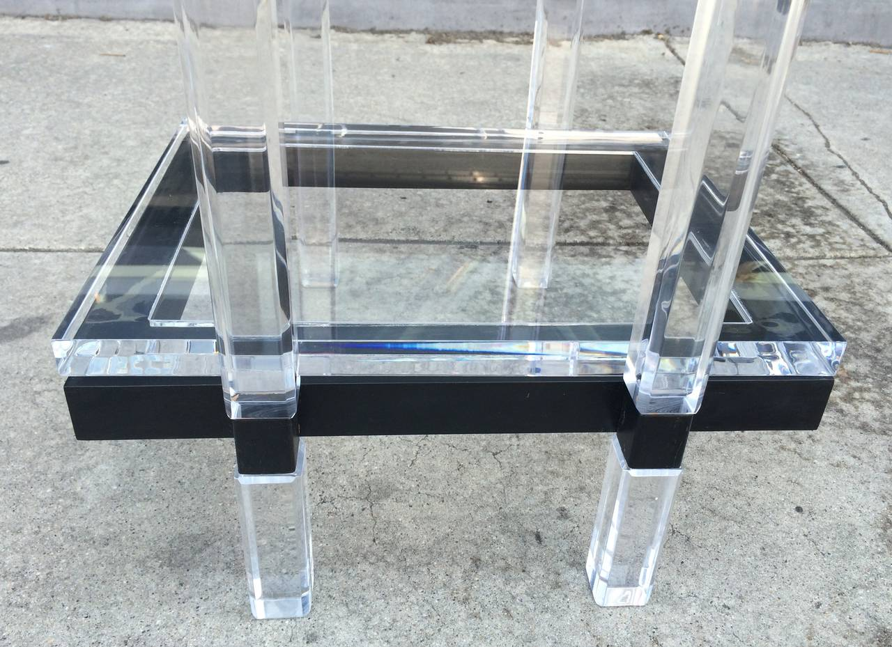 Console Table in Lucite and Black Enamel by Charles Hollis Jones  For Sale 2