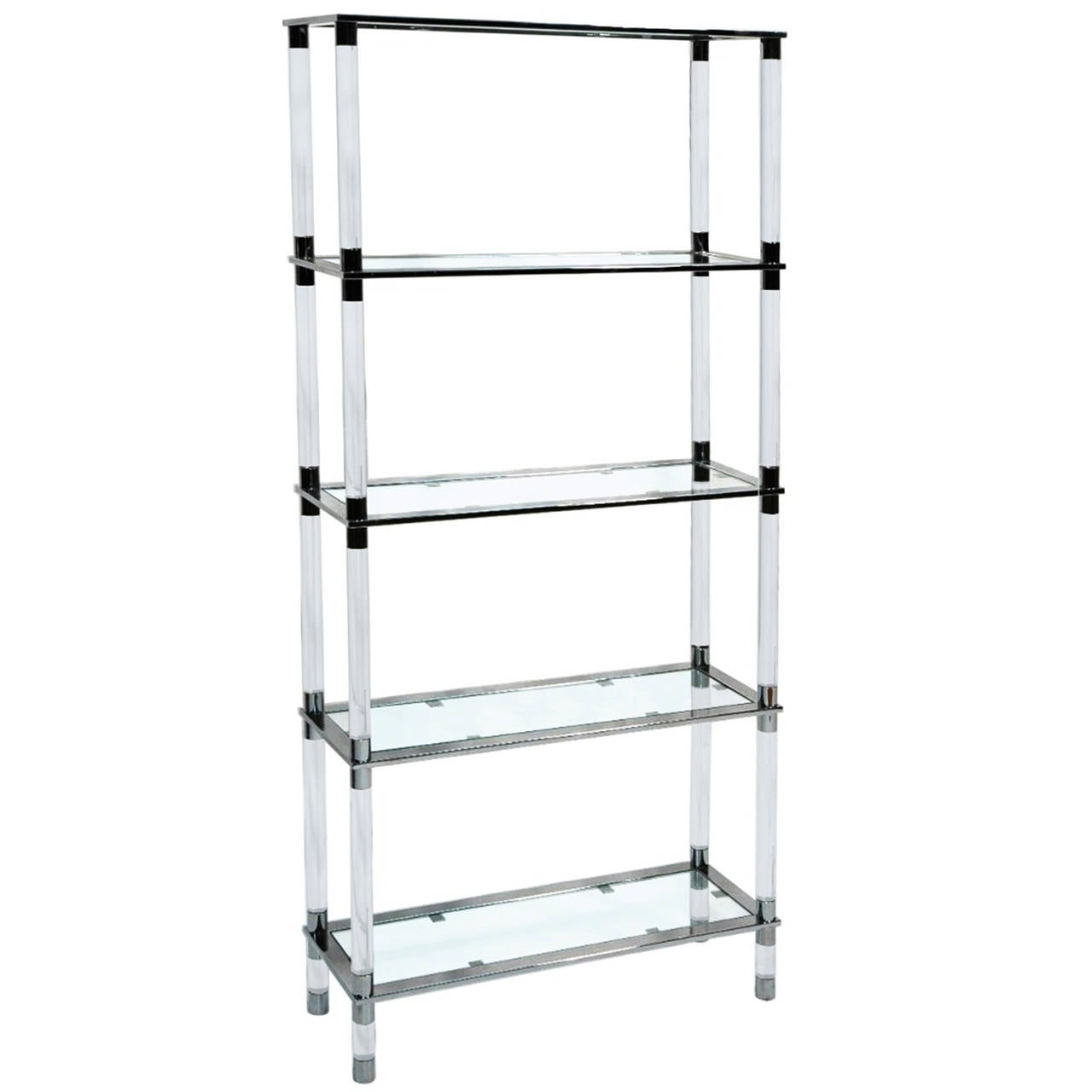 lucite and stainless steel etagere designed and manufactured by cain modern for sale at 1stdibs. Black Bedroom Furniture Sets. Home Design Ideas