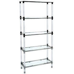 Lucite and Stainless Steel Etagere Designed and Manufactured by Cain Modern