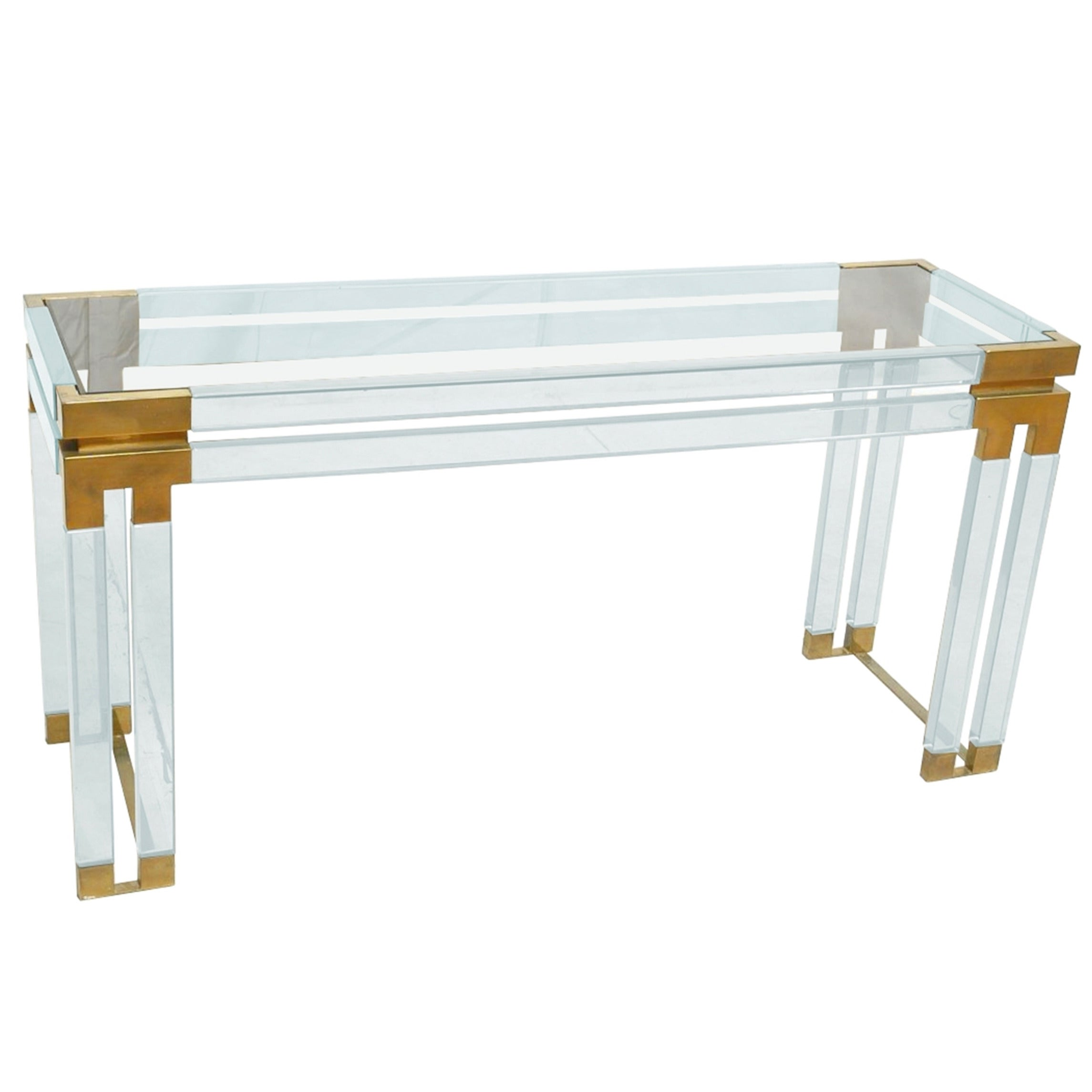 Lucite and Brass Console Table by Charles Hollis Jones for Paul Laszlo