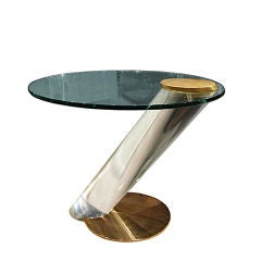 One of A  Kind Lucite Side Table by Lion In Frost Circa 1970's