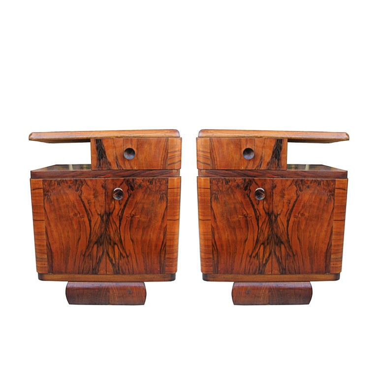 pair of french style art deco night stands circa 1930 39 s at 1stdibs. Black Bedroom Furniture Sets. Home Design Ideas