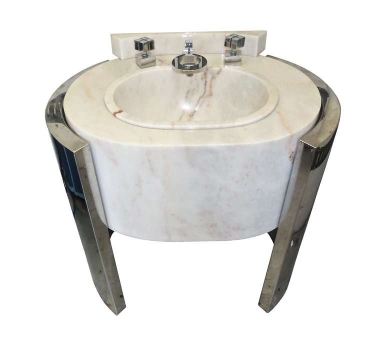 Sherle Wagner Pedestal Sink, Chrome and Marble at 1stdibs