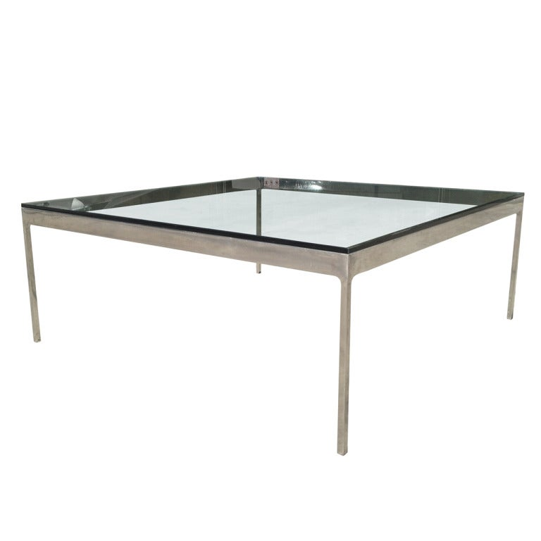 Low Coffee Table In Polished Nickel And Glass Top By Nicos Zographos At 1stdibs