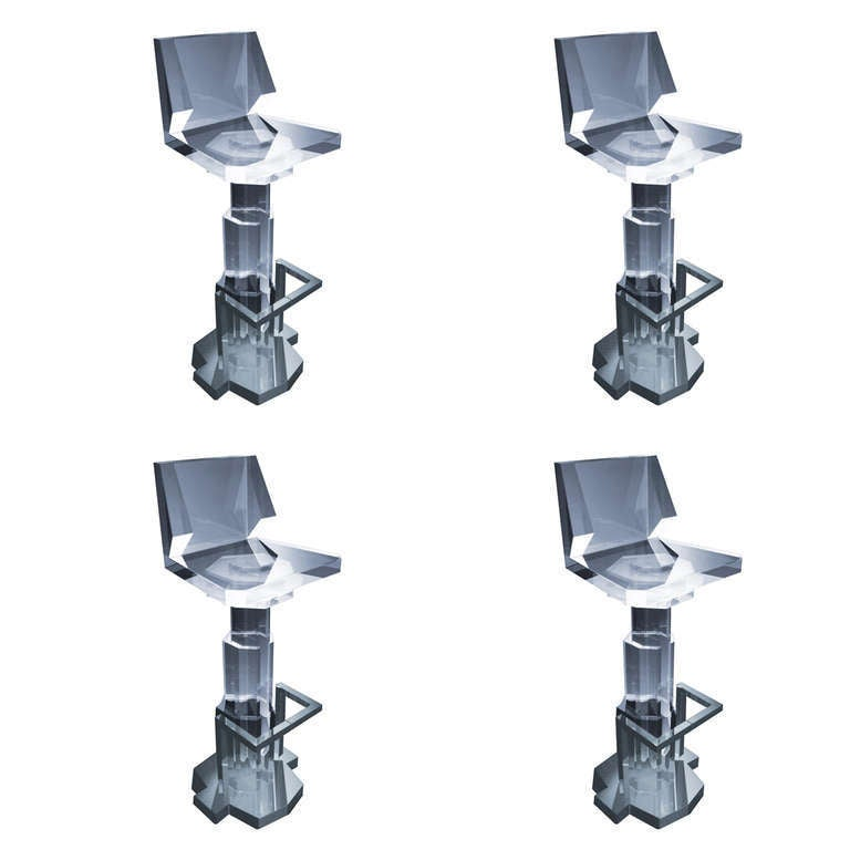 Futuristic Bar Stools in Lucite and Nickel by Charles ...