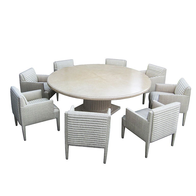 Custom round conference table and 8 arm chairs by donghia for Custom kitchen tables and chairs