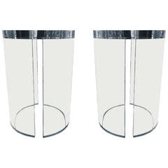 "Lucite Side Tables by Charles Hollis Jones, from the ""O"" Collection"