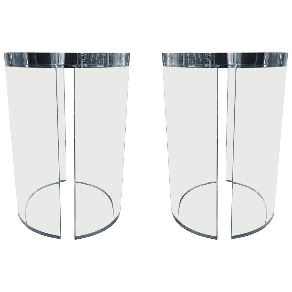 """Lucite Side Tables by Charles Hollis Jones, from the """"O"""" Collection"""