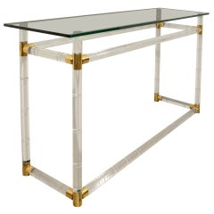 Faux Bamboo Console in Lucite and Brass by Charles Hollis Jones