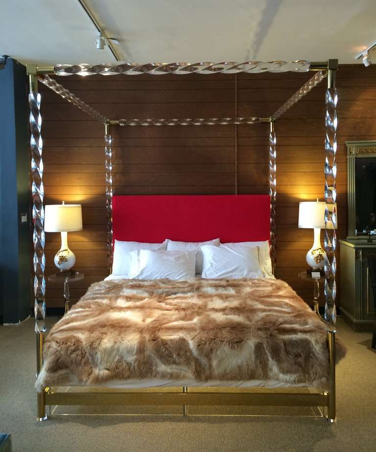 Stunning king-size bed designed and by Charles Hollis Jones in 1968.  This piece is one of a kind because the way the Lucite is cut cannot be reproduced so the surface will never be exactly the same to the next.  The piece is in excellent