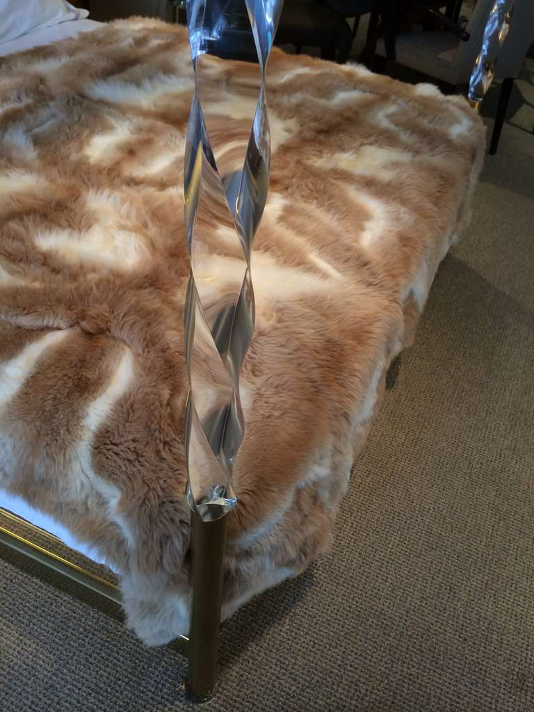 Faceted Lucite and Brass King-Size Bed by Charles Hollis Jones, Signed and Dated In Excellent Condition For Sale In Los Angeles, CA