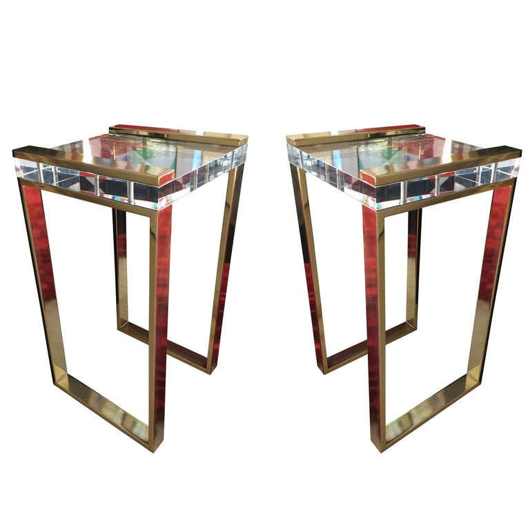 "Charles Hollis Jones, ""Box"" Line Tables in Brass and Lucite"