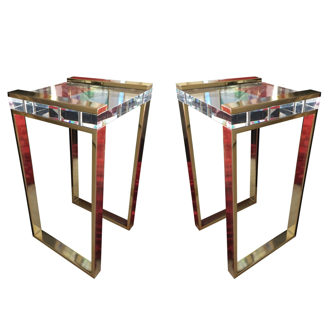 """Charles Hollis Jones, """"Box"""" Line Tables in Brass and Lucite"""