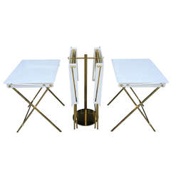 Set of Four Acrylic and Brass Serving Trays and Stand by Charles Hollis Jones