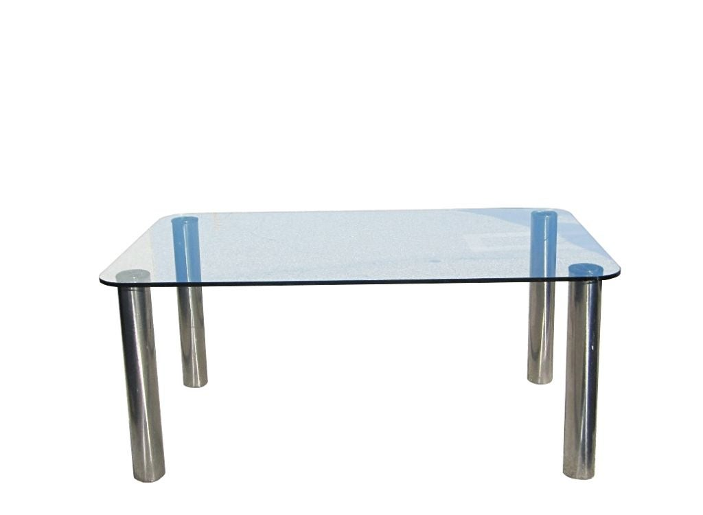 marco zanuso for zanotta dining table in stainless steel