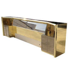 King-Size Bed in Brass and Bronzed Mirror by Mastercraft