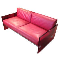 Vladimir Kagan Style Lucite and Red Leather Sling Sofa