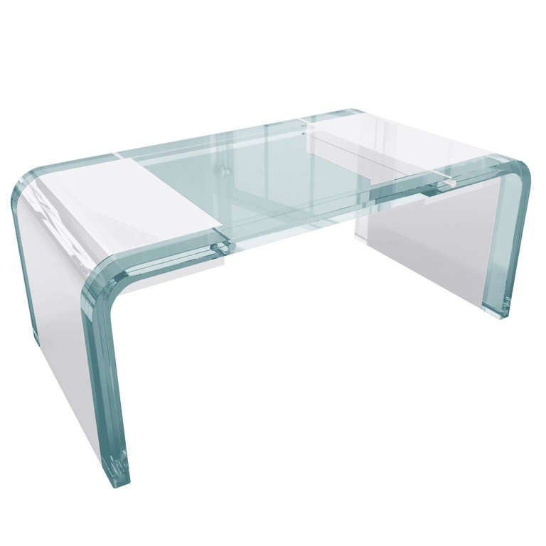 "Charles Hollis Jones Lucite and Chrome ""Waterfall"" Desk"