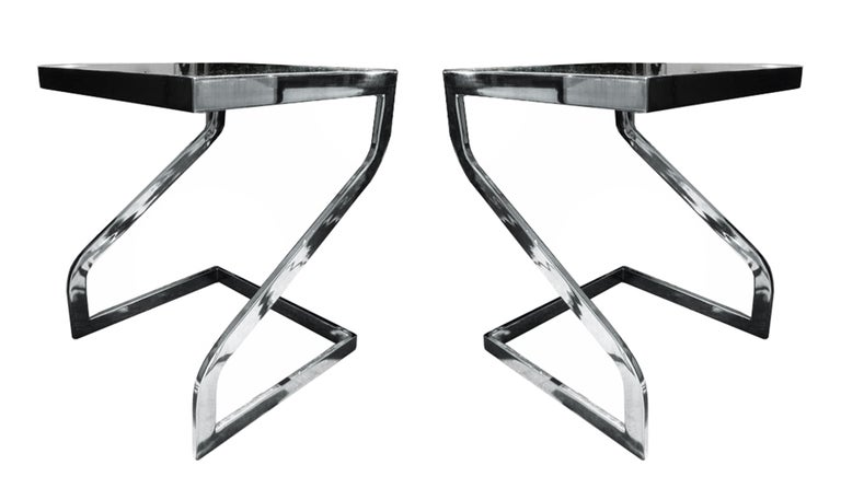 Beautiful Side Tables in Chrome & Glass by Design Institute of America For Sale