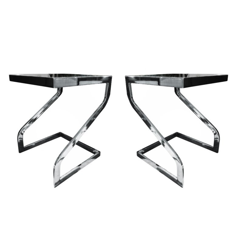 Beautiful Side Tables in Chrome & Glass by Design Institute of America