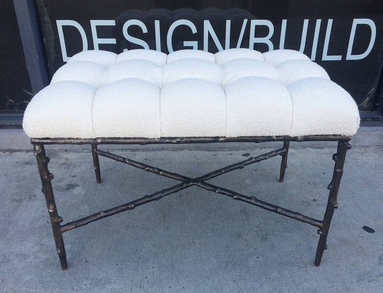 Solid Bronze Benches with Tufted Seats, Limited Edition of 200, Numbers 1 and 2 For Sale 1
