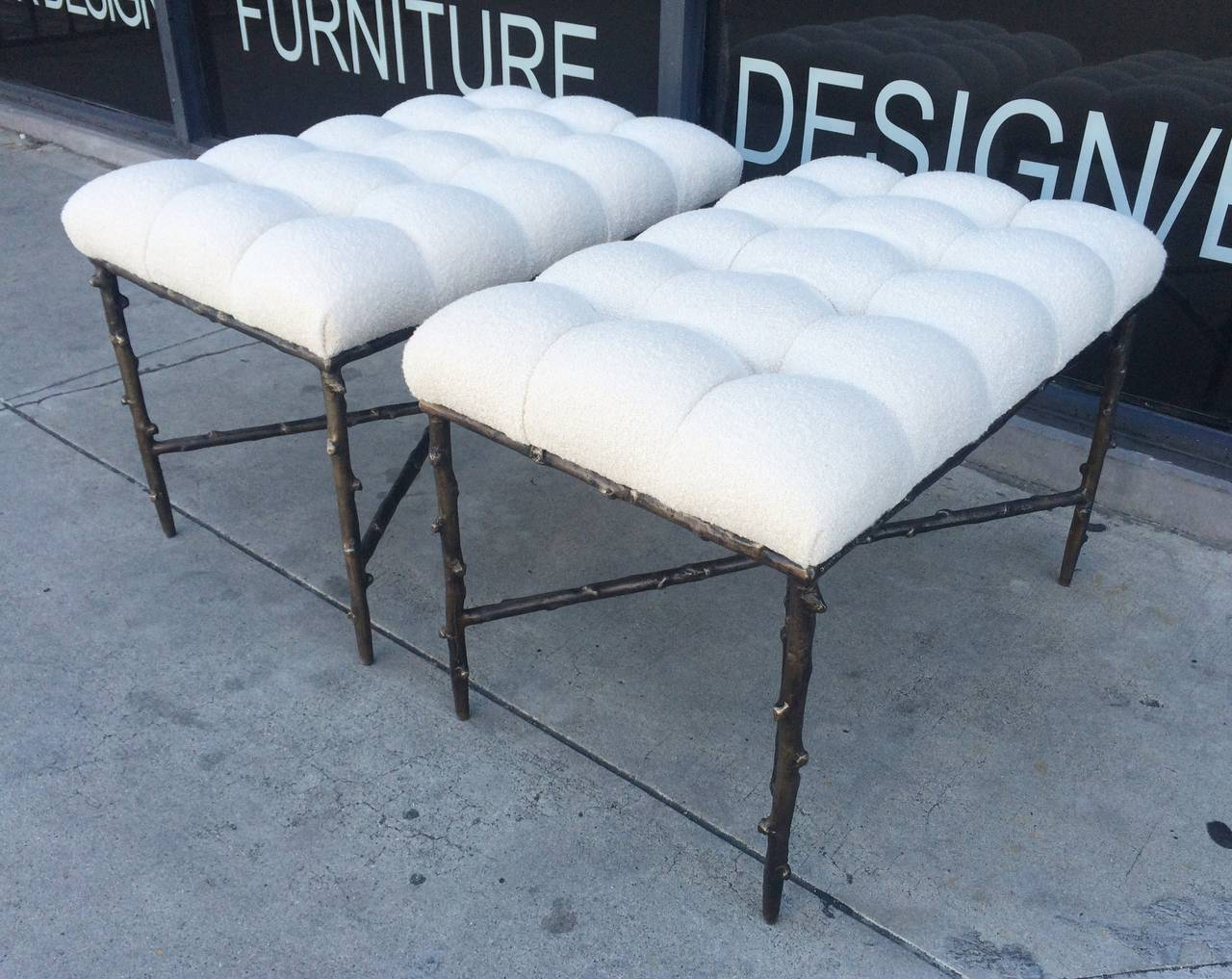 Solid Bronze Benches With Tufted Seats Limited Edition Of