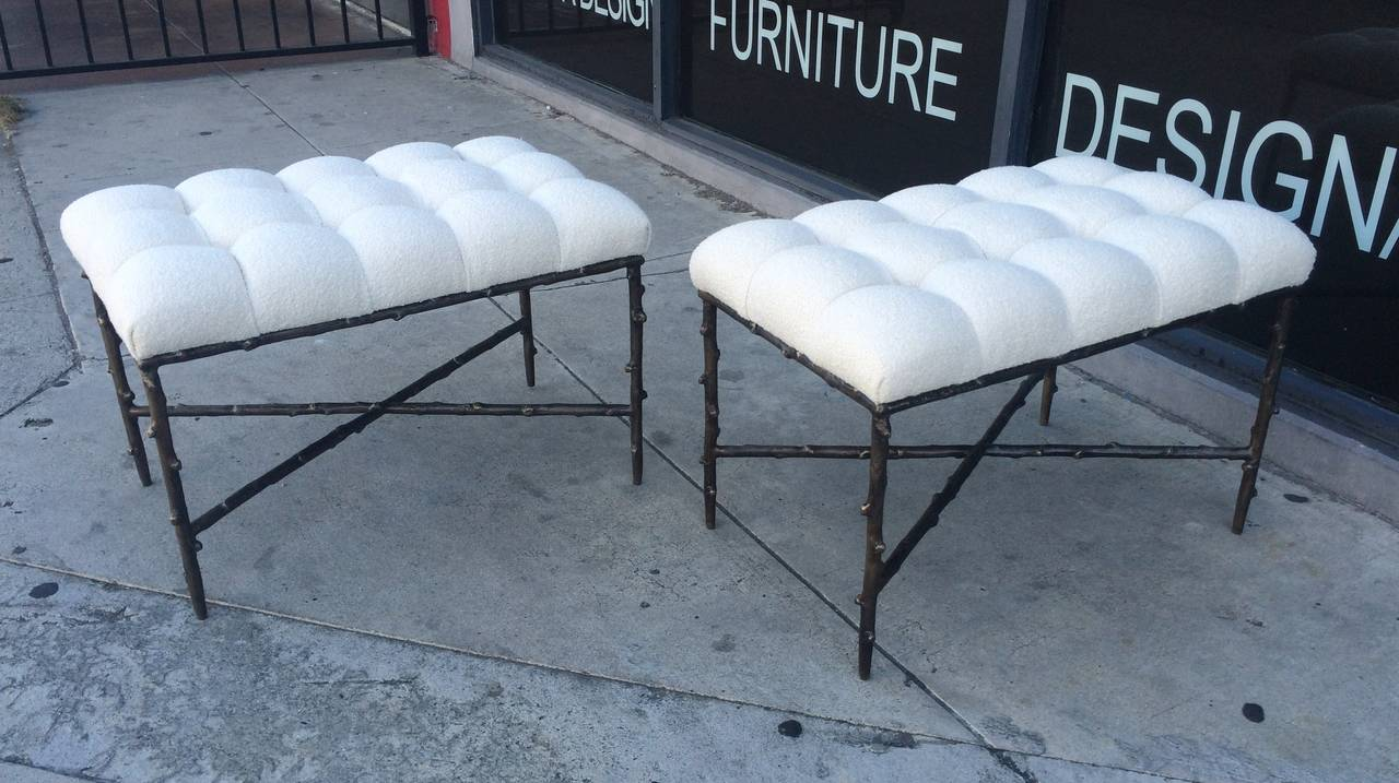 Organic Modern Solid Bronze Benches with Tufted Seats, Limited Edition of 200, Numbers 1 and 2 For Sale