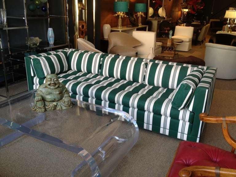 John Widdicomb Sofa Upholstered in Striped Sunbrella Fabric 6