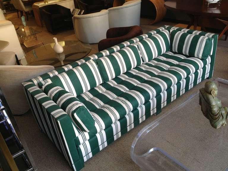 John Widdicomb Sofa Upholstered in Striped Sunbrella Fabric 5