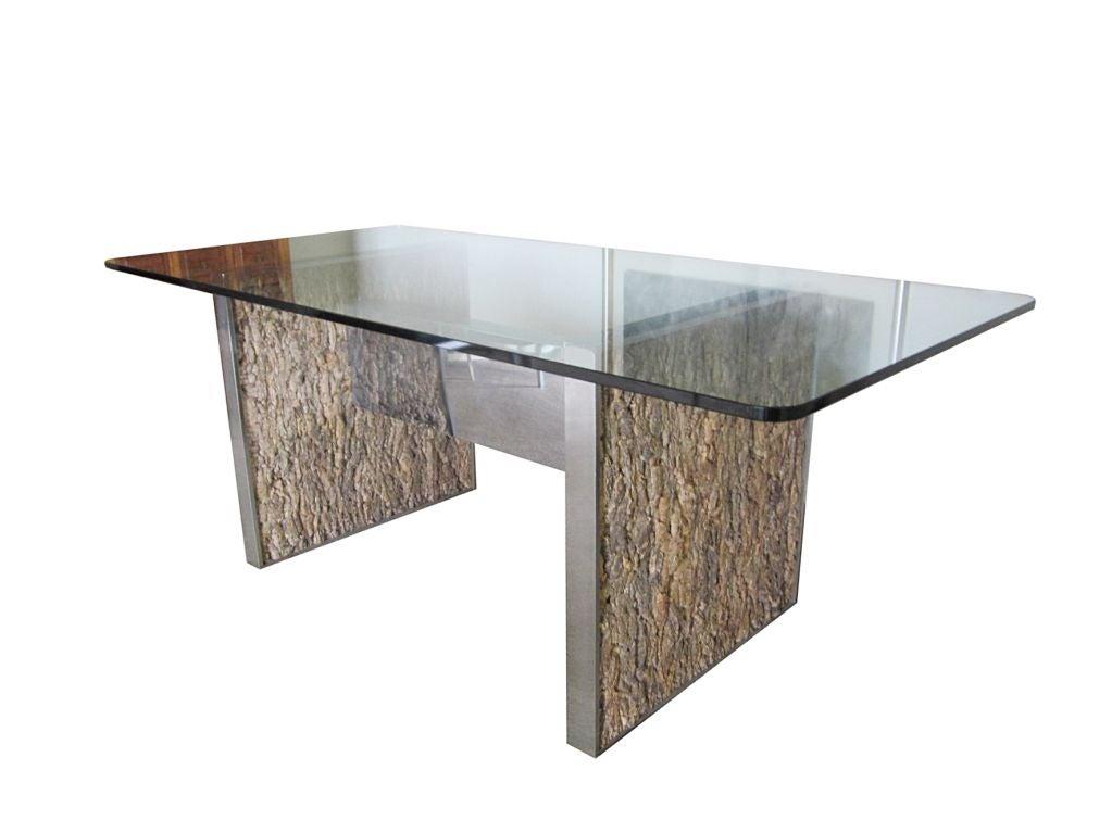 stunning tree bark chrome dining table after gabriella crespi image bark furniture