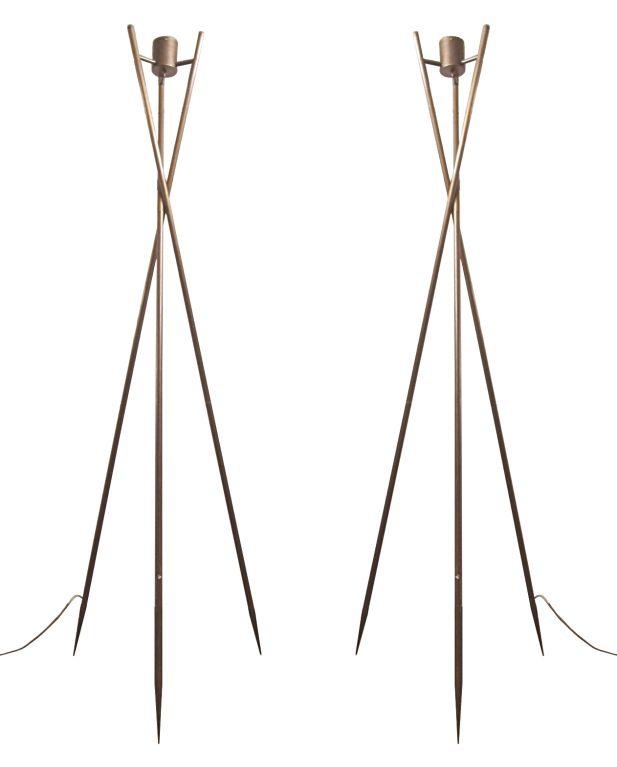 American Pair Of Tall Bronze Tripod Floor Lamps By Leavitt Weaver For
