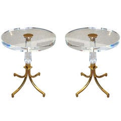 Pair of Regency Style Lucite and Brass Side Tables by Charles Hollis Jones
