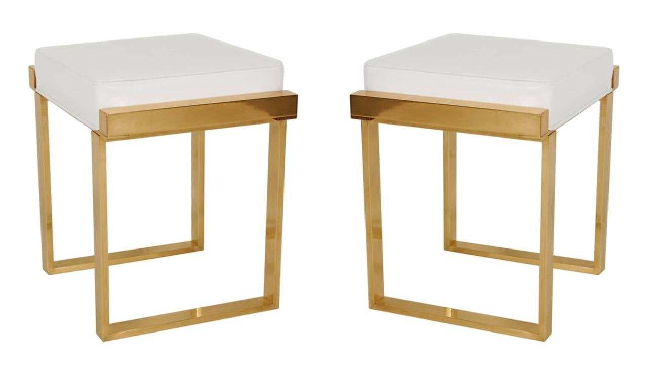 Mid-Century Modern Pair of Charles Hollis Jones Brass Benches,