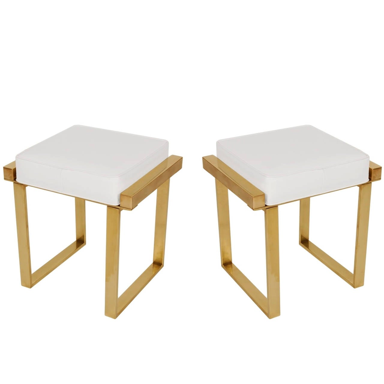 "Pair of Charles Hollis Jones Brass Benches, ""Box"" Line For Sale"