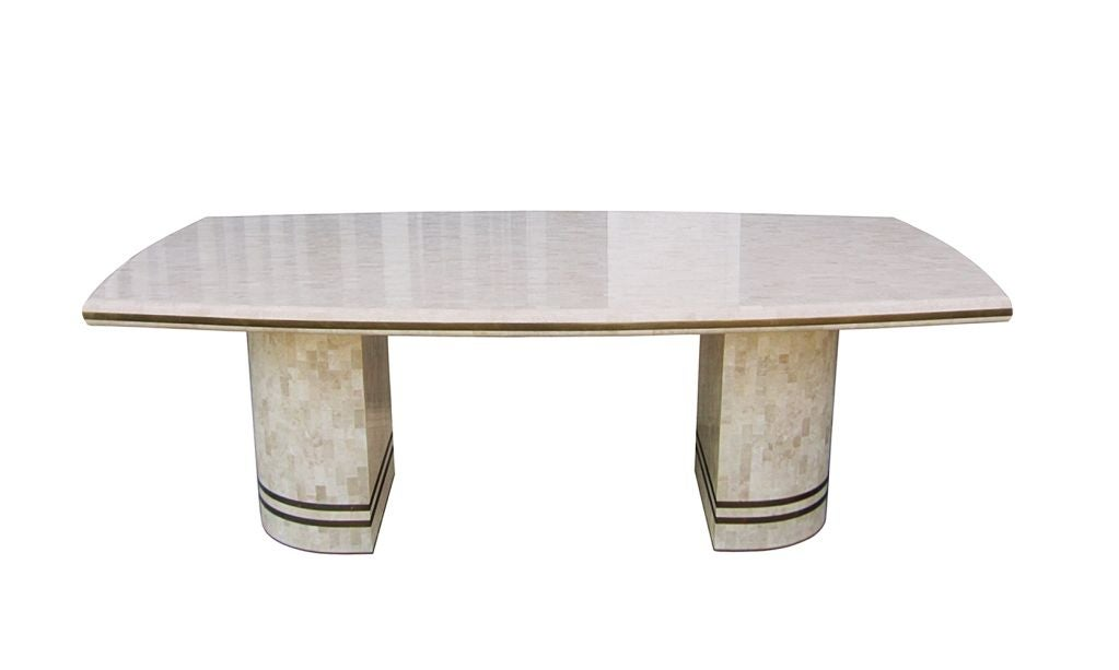 Maitland Smith Tessellated Fossil And Brass Inlay Pedestal Table At 1stdibs