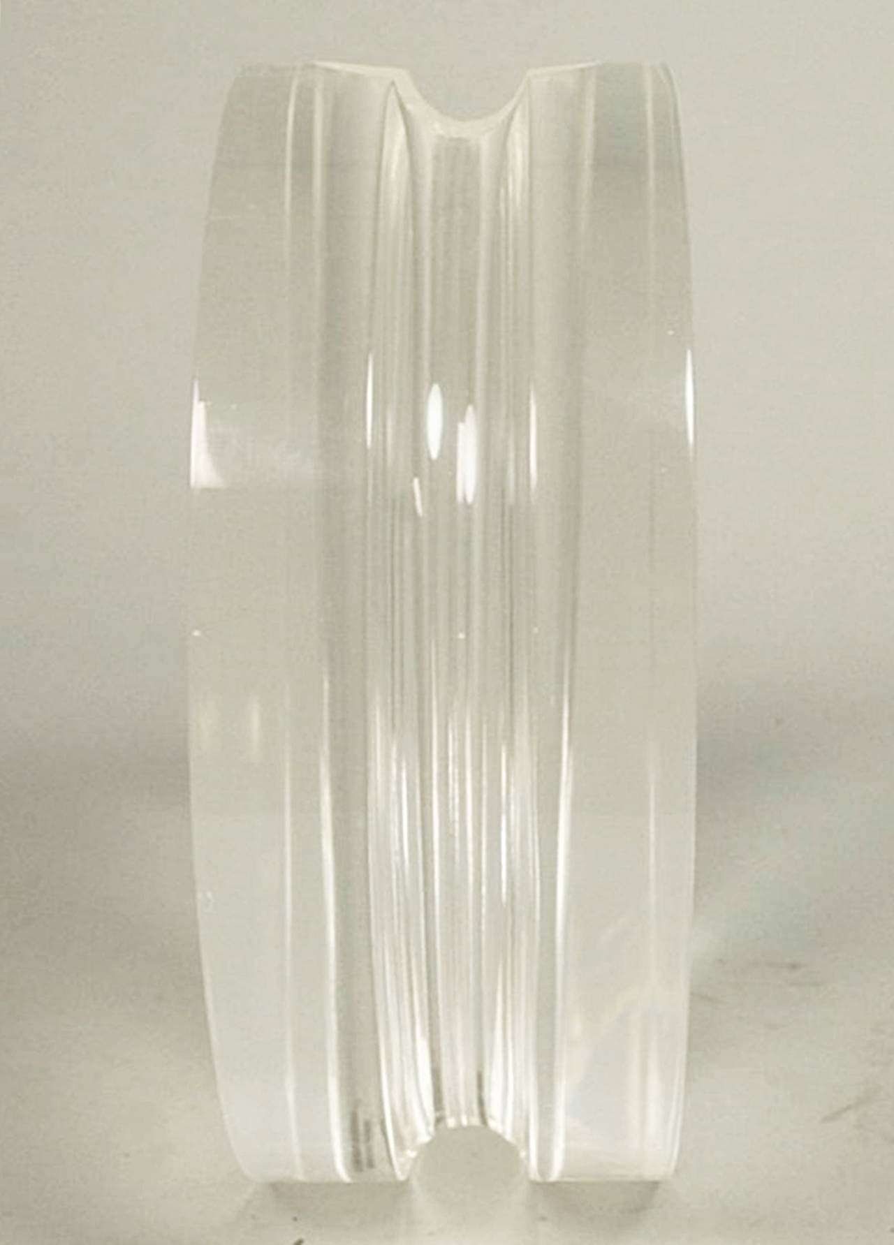 Vintage 1970s Lucite vase designed and manufactured by Charles Hollis Jones. The piece is beautifully crafted in one piece of 3 1/2