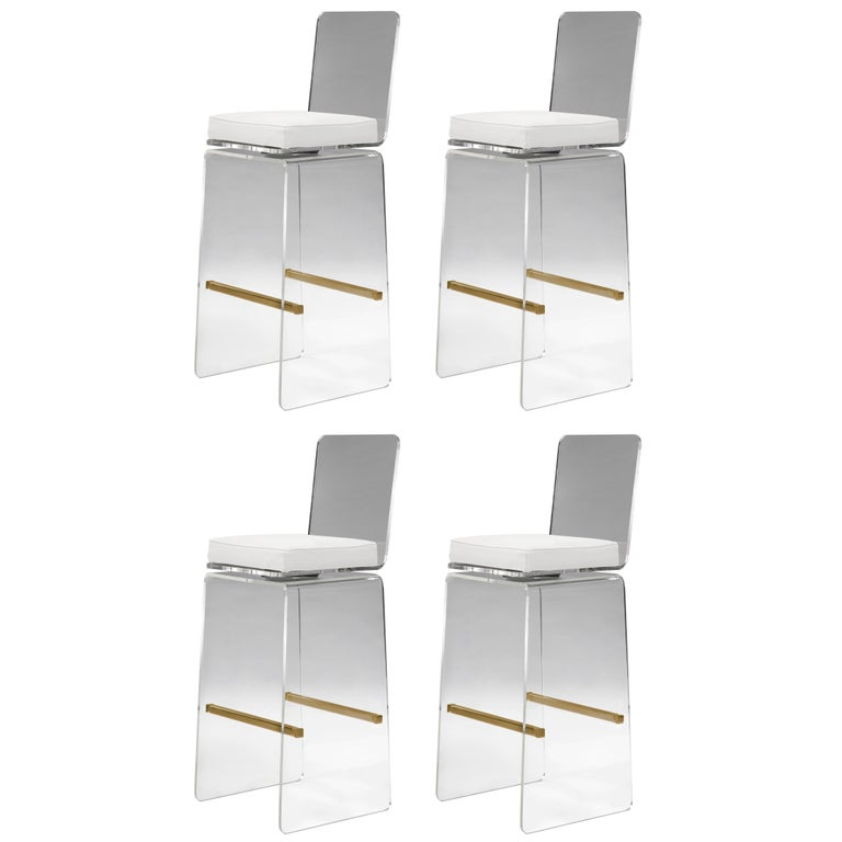 """Set of Four """"Waterfall"""" Barstools by Charles Hollis Jones For Sale"""