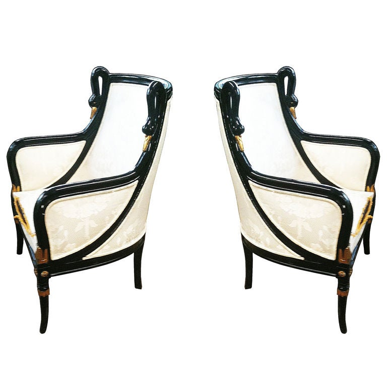 Empire style armchairs with swan carving motifs and black for Swan chairs for sale