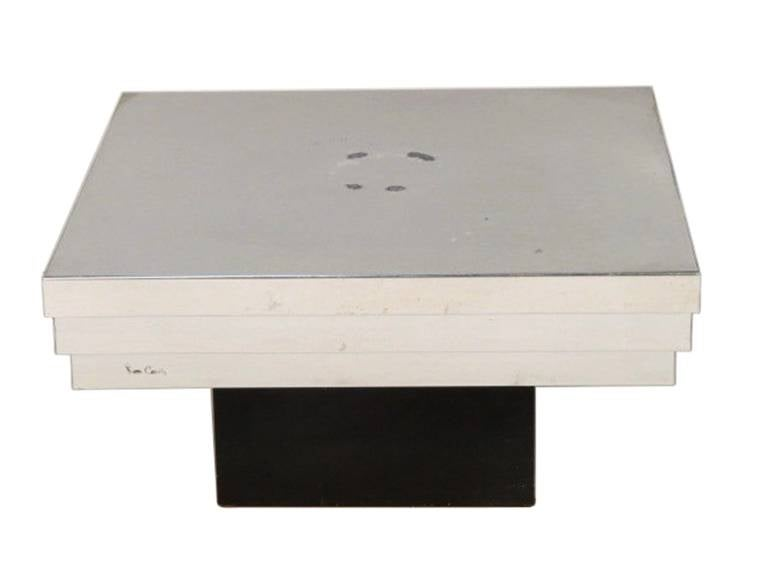 Mid-Century Modern Pierre Cardin Side Table with a Graduated Aluminum Top For Sale